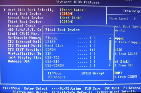 4.advanced bios features - cd rom