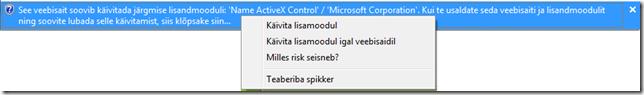 ActiveX lubamine ainult valitud lehel või kõigil lehtedel.